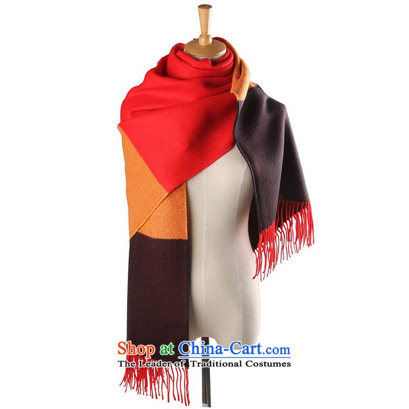 The autumn and winter new emulation pashmina shawl scarves color spell girl with two extra-long thick a wild shawl scarf black orange