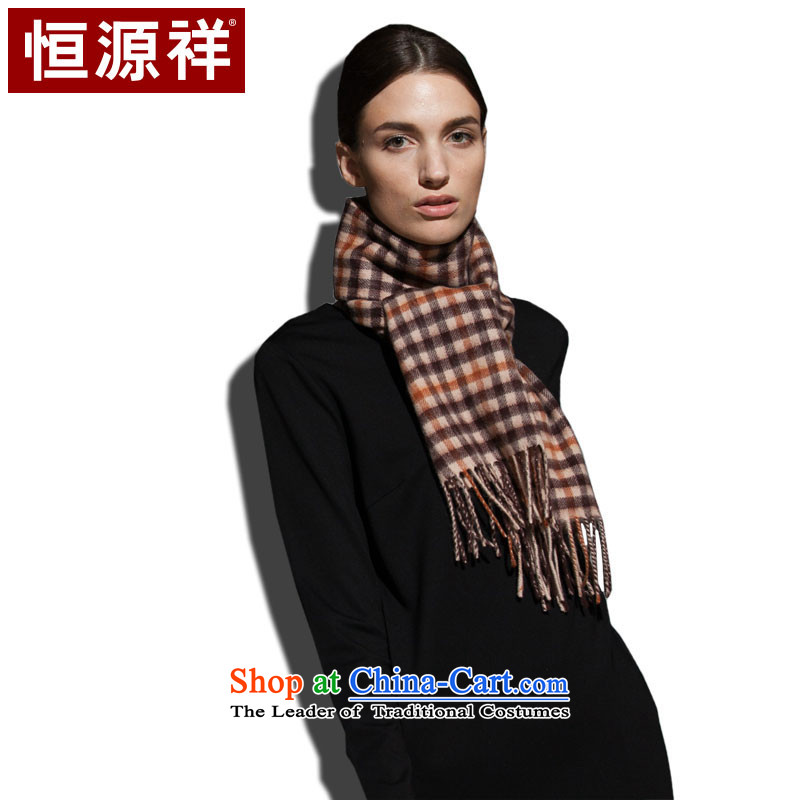 Ms. Cheung Hengyuan Pure Wool Scarf Classic Grid autumn and winter warm orange square) thick (light lady)