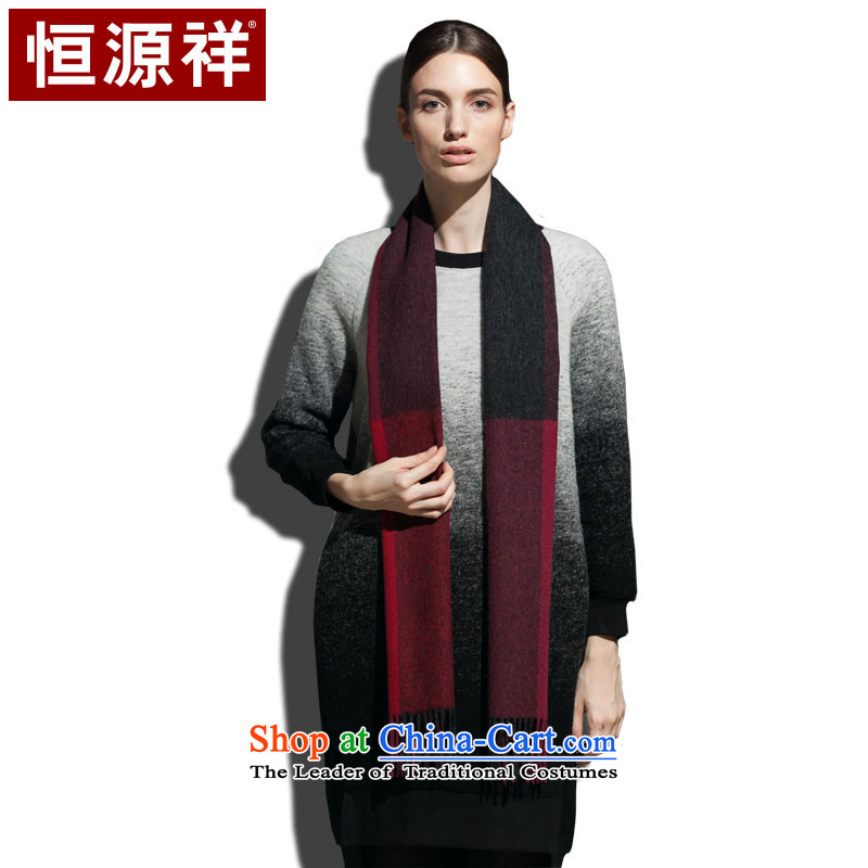 Ms. Cheung Hengyuan Pure Wool Scarf Classic Grid autumn and winter warm thick red wine (Red)