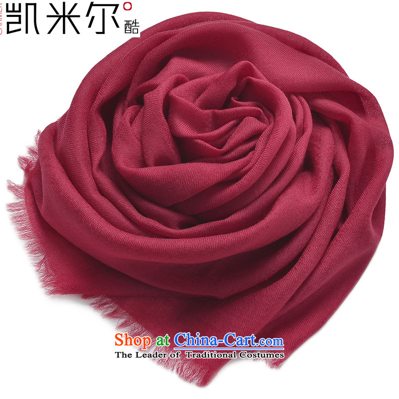 Kemi's core twill 300 rings pure Cashmere wool Fancy Scarf female autumn and winter low intensity air-conditioning shawl, wine red