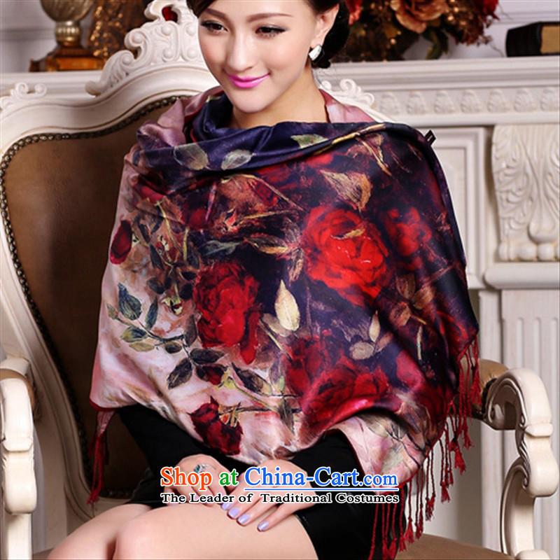 Language of new products by 2015 Lotus elegant digital inkjet flowers double silk scarf elegant edging shawl drunken bedroom (wj850) roses