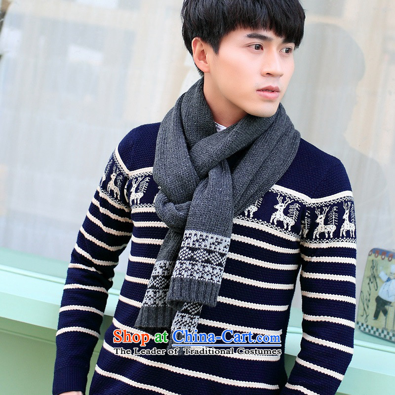 The Korean version of the autumn and winter a female male couples solid color woolen Knitting scarves long double-sided latticed cashmere warm Pure Color Dark Gray
