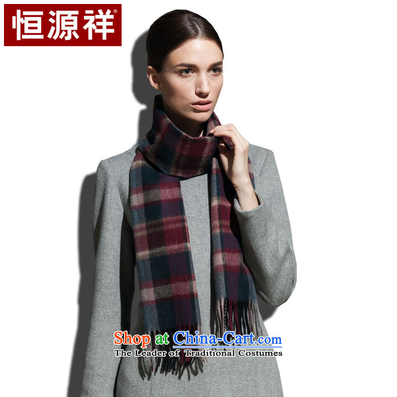 Hengyuan Eric Li dongqiu New Pure wool, scarf classic grid extension warm thick stylish wild wine red brown (Red)