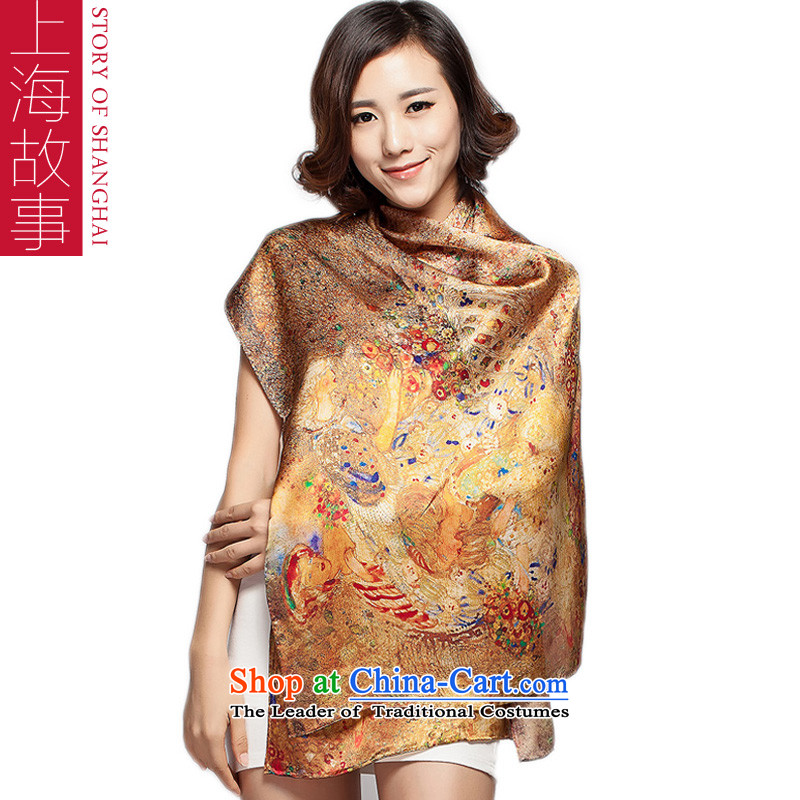 Shanghai Story new spring and autumn gift silk scarves female sauna silk scarf shawl Emerald Golden