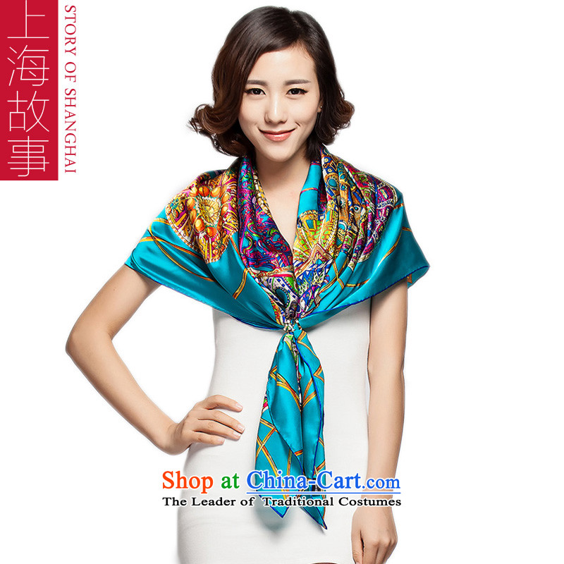 Shanghai Story silk scarf scarves and classy silk herbs extract silk scarf dream of - Blue
