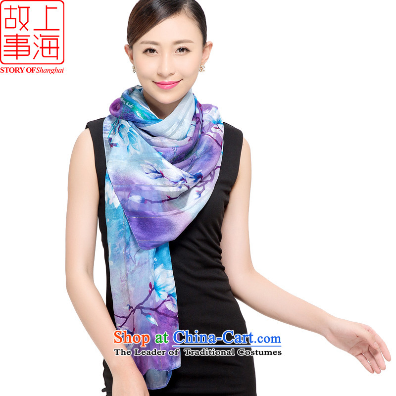 Shanghai Story 2015 silk scarves female sauna silk shawls sunscreen beach towel masks in satin purple mists scarf light dance orchids in 178048 orchid blue-violet