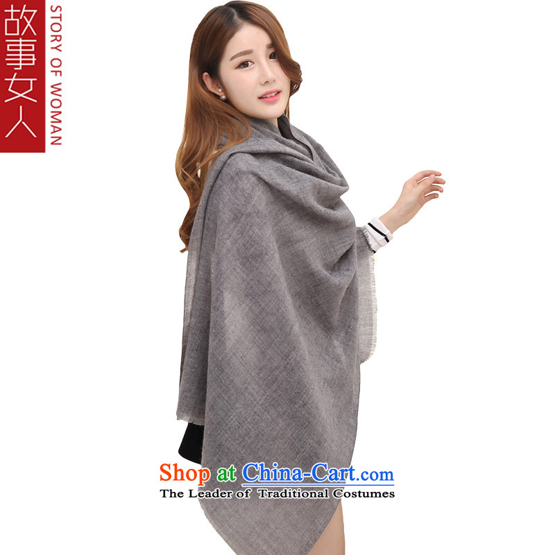 Wooler scarf women woman story of autumn and winter shawl in Korean version of two thick warm a Black Gray