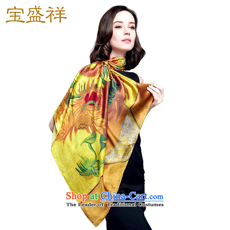 Eric blossom in the autumn of 2015, the new president of silk shawl sauna silk satin turban shawl scarf Van Gogh Of Sunflowers