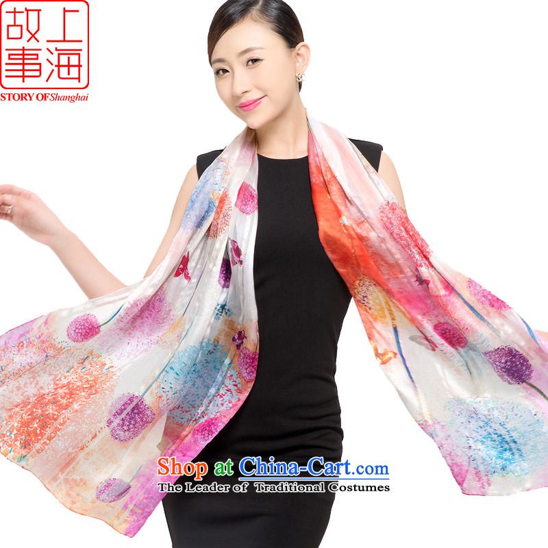 Shanghai Story silk scarves female sauna silk shawls sunscreen beach towel masks in satin purple mists scarf light dance orchids in 178048 Dandelion