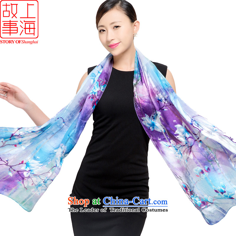 Shanghai Story silk scarves female sauna silk shawls sunscreen beach towel masks in satin purple mists scarf light dance orchids in 178048 orchid blue-violet