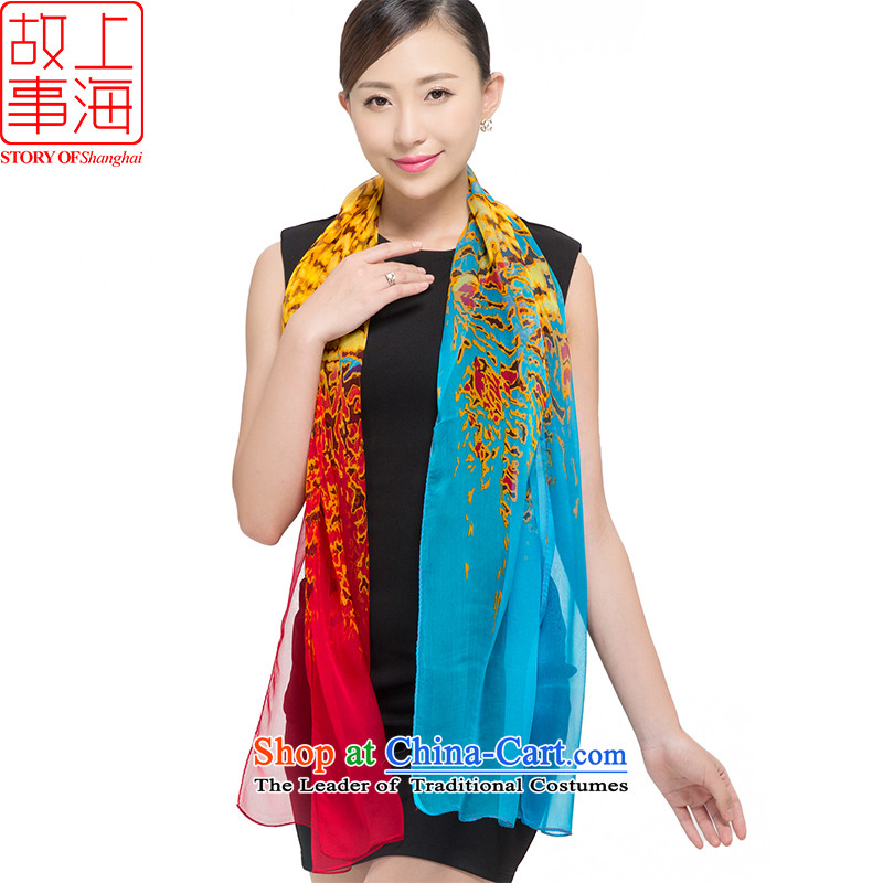 Shanghai Story silk scarves female sauna silk shawls sunscreen beach towel masks in the following the end of the scarf gittoes voluptuous 178051 in Blue