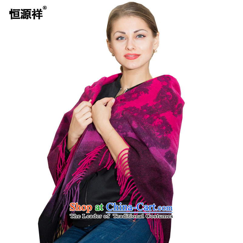 Hengyuan Cheung Chun-large national stream winter so long, thick warm female big wool Fancy Scarf SF3028#4313in red