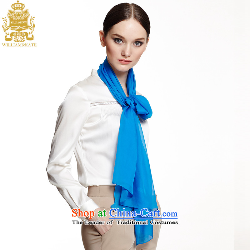 Williams & Ms. Kate WILLIAM&KATE silk scarf herbs extract pure colors in a stylish long silk scarf navy WJ35212