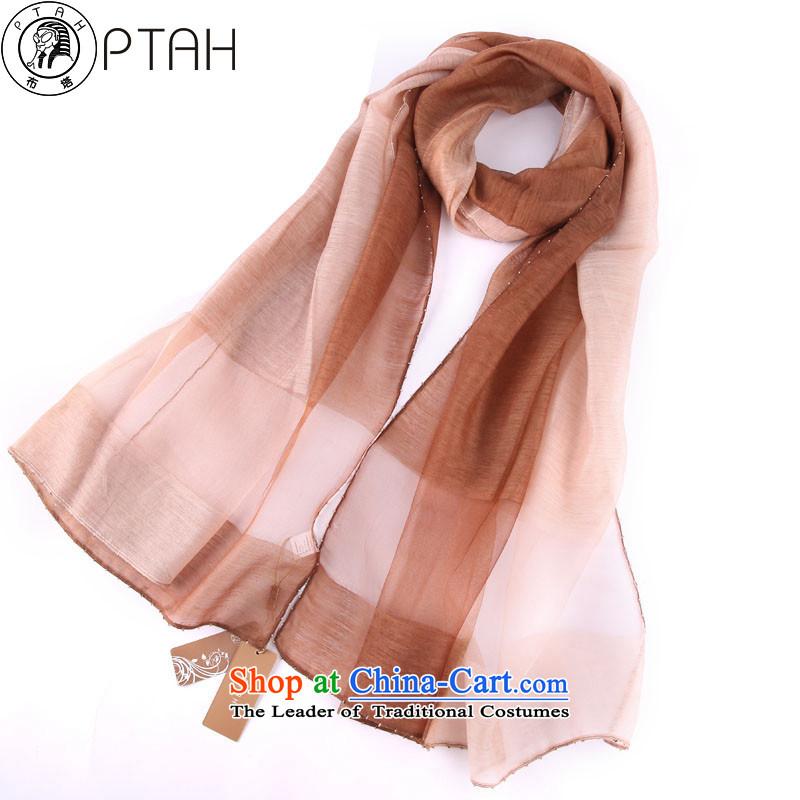 Buta wooler scarf women hand-painted gradient warm woolen shawl staple a stylish scarves pearl silk scarves light coffee