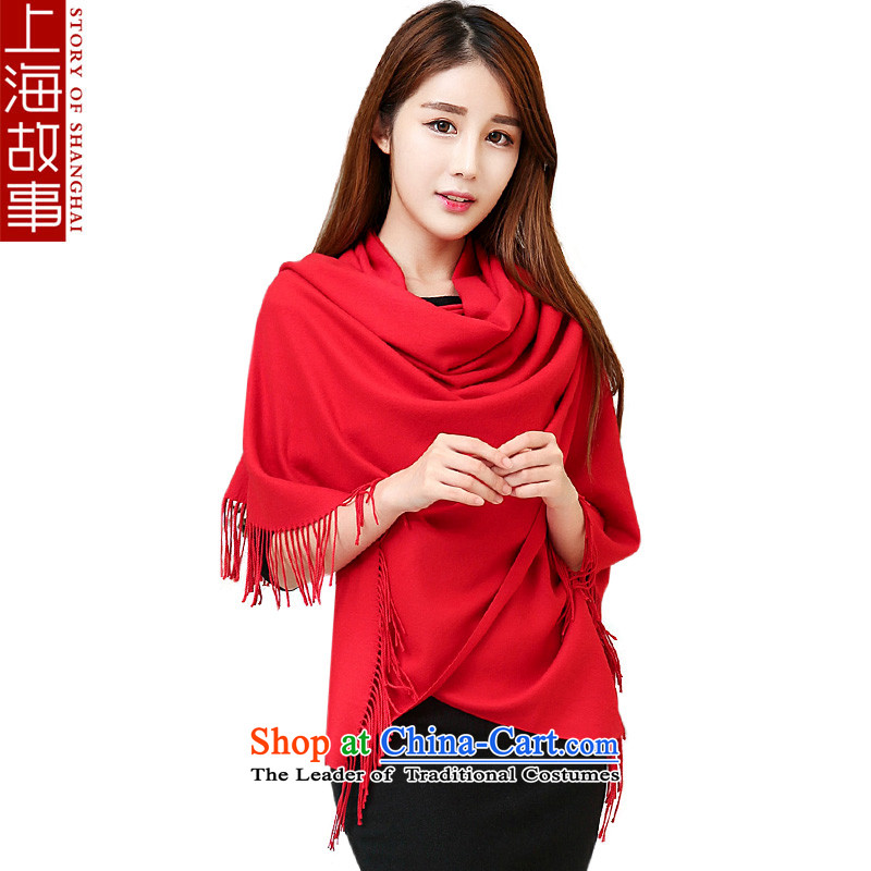 Shanghai Story scarf autumn and winter, Ms. thick Korean leisure wild shawl monochrome red