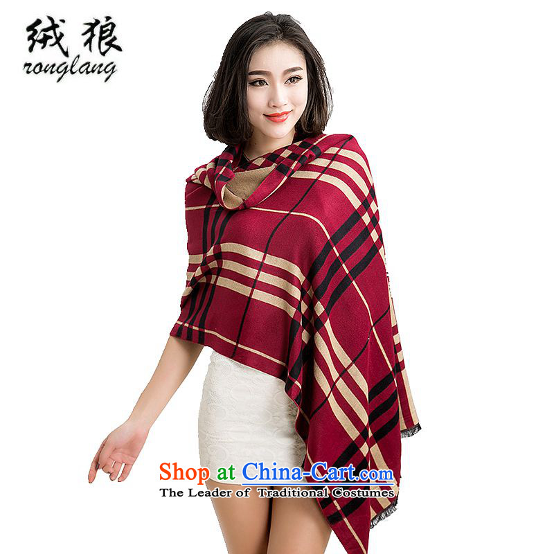 Lint-free pashmina shawl wolf female scarf of autumn and winter new upscale Pure Wool thick fashion gift scarf office air-conditioning scarf of England grid a gift box 004