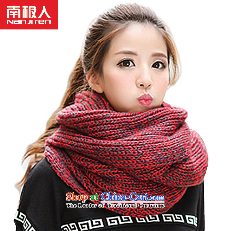 2015 Autumn and winter Antarctic people new Korean men and women a couple knitted warm color mix Knitting scarvesNWJ-29- Ms. red are code