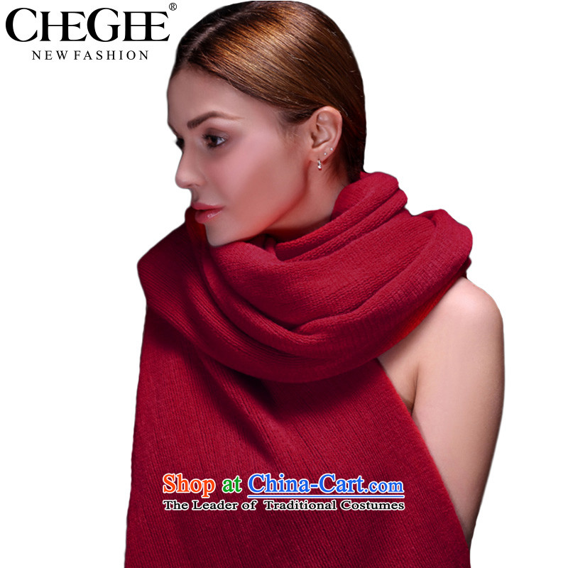 Knitting scarves anthology of autumn and winter thick warm pure color Knitting scarves shawl female couple of large dark red
