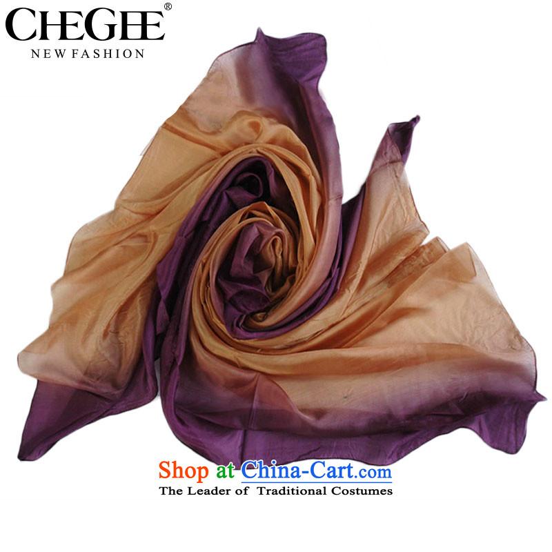 Sauna workshops of silk CHEGEE Ms. silk scarf gradient printing and dyeing silk shawls Purple