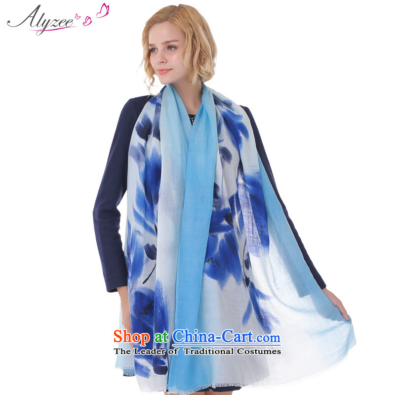 The situation of the champs alyzee autumn and winter Pure Wool scarf import o, hand-painted flowers oversized shawl blue