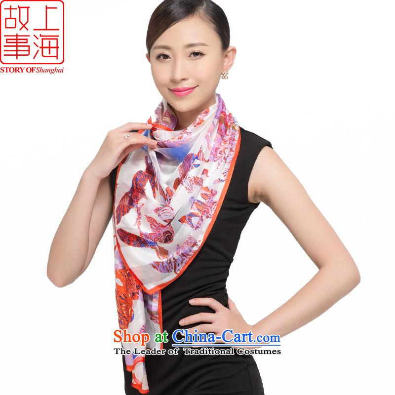 Shanghai Story silk scarves female sauna silk shawls sunscreen beach towel masks in silk satin purple mists scarf dance flowers 187046 Light Red