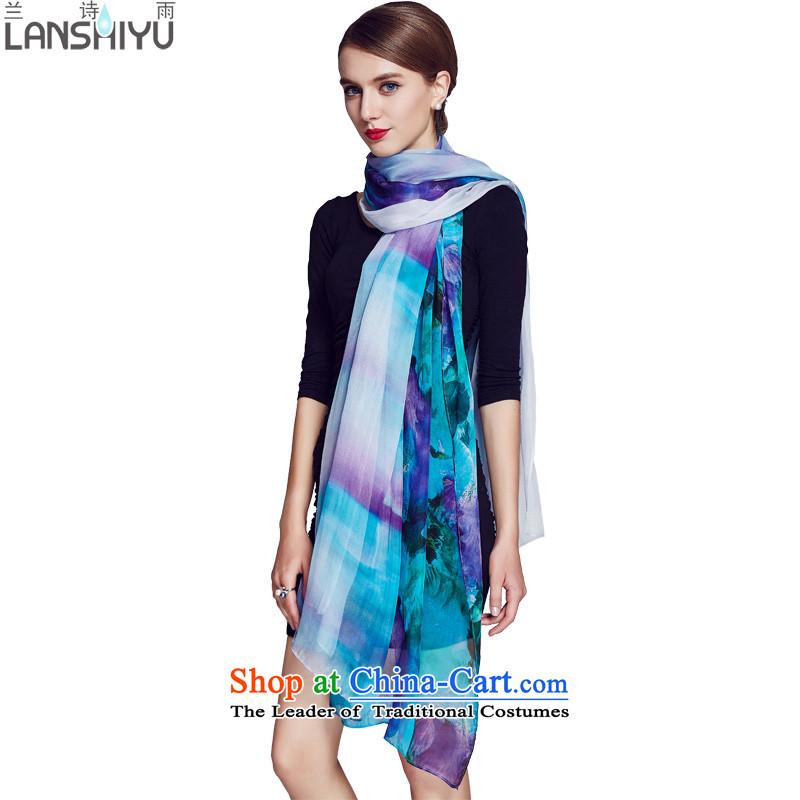 Ho Shih rain silk scarves, Western Wind poster king long scarf LSYW11502091400 Sapphire Blue