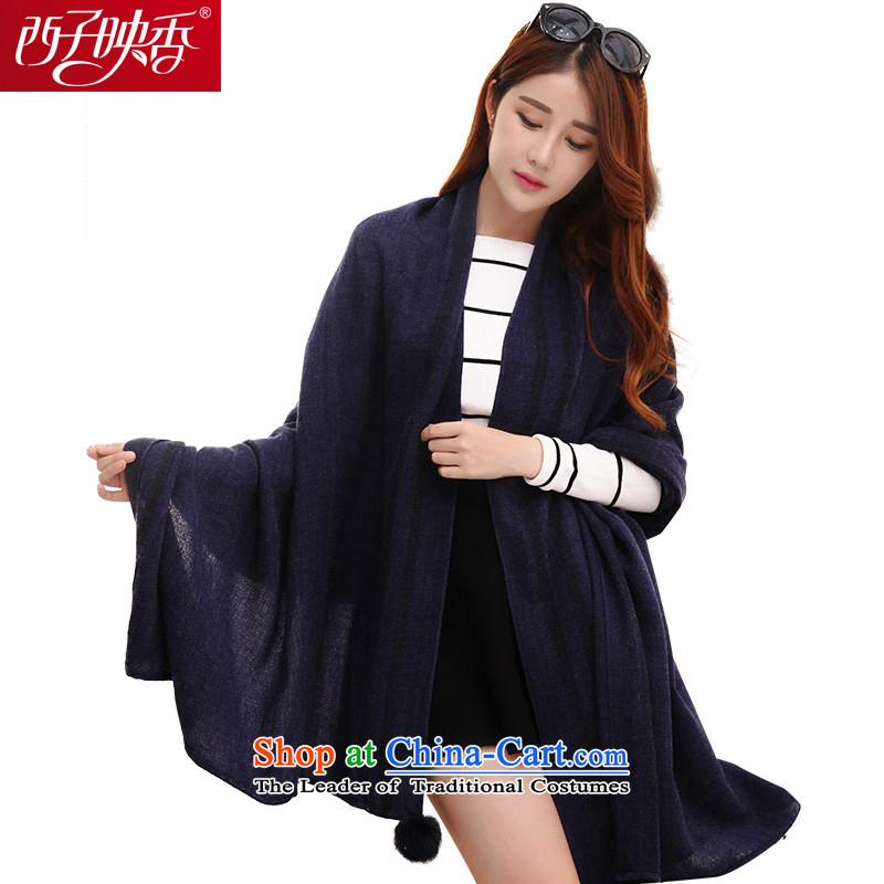 Hsitzu Hong autumn and winter new scarf thick warm scarf female Korean shawl long a classic Gross Gross ball deep blue ball