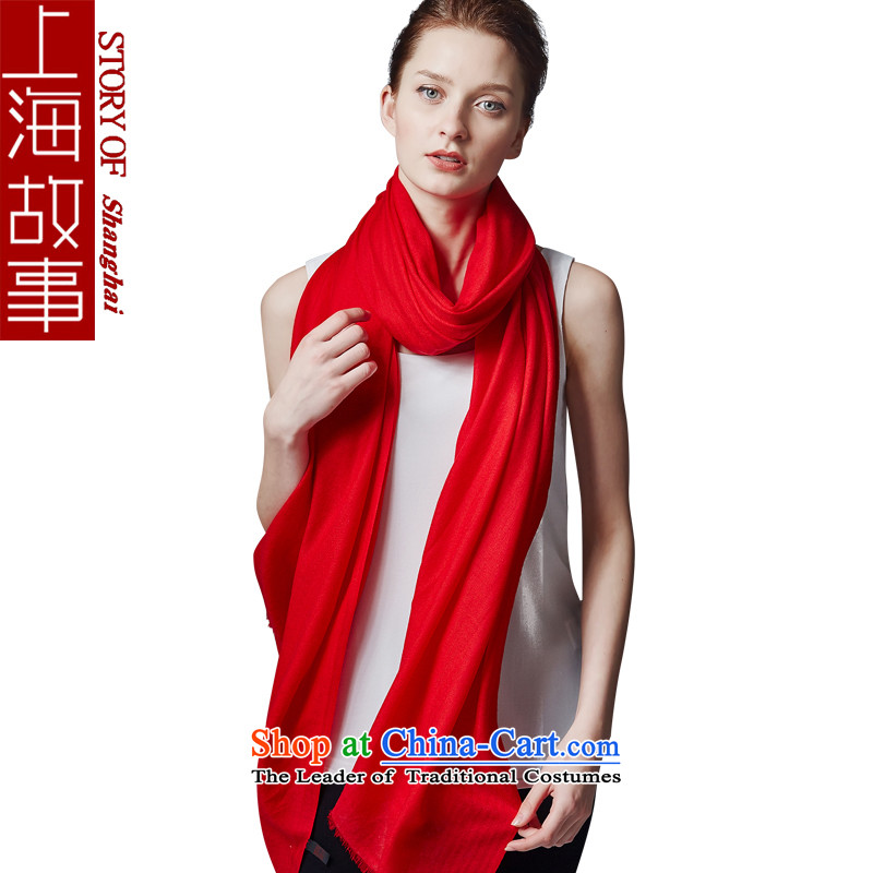 Shanghai Story red woolen scarves female pure color winter long a shawl from field of chinese red color shading