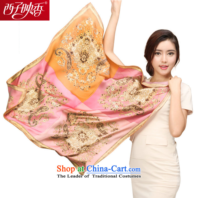 Hsitzu Hong silk scarves female spring and autumn wild and classy towel autumn and winter warm golden square scarves shawl