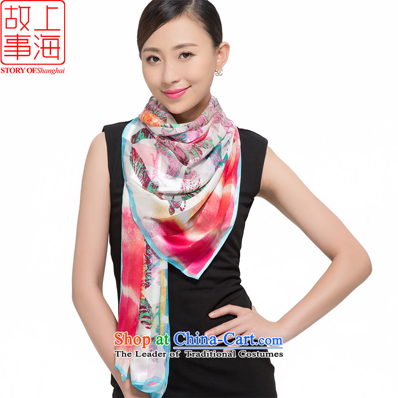 Shanghai Story2015 silk scarves female sauna silk shawls sunscreen beach towel masks in satin purple mists scarf light dance flowers 187046 blue color.