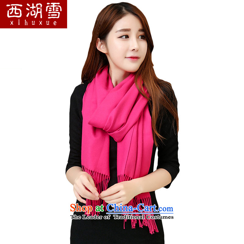 The Hsihu snow scarf female autumn and winter long warm a Korean version of the solid color shawl by red
