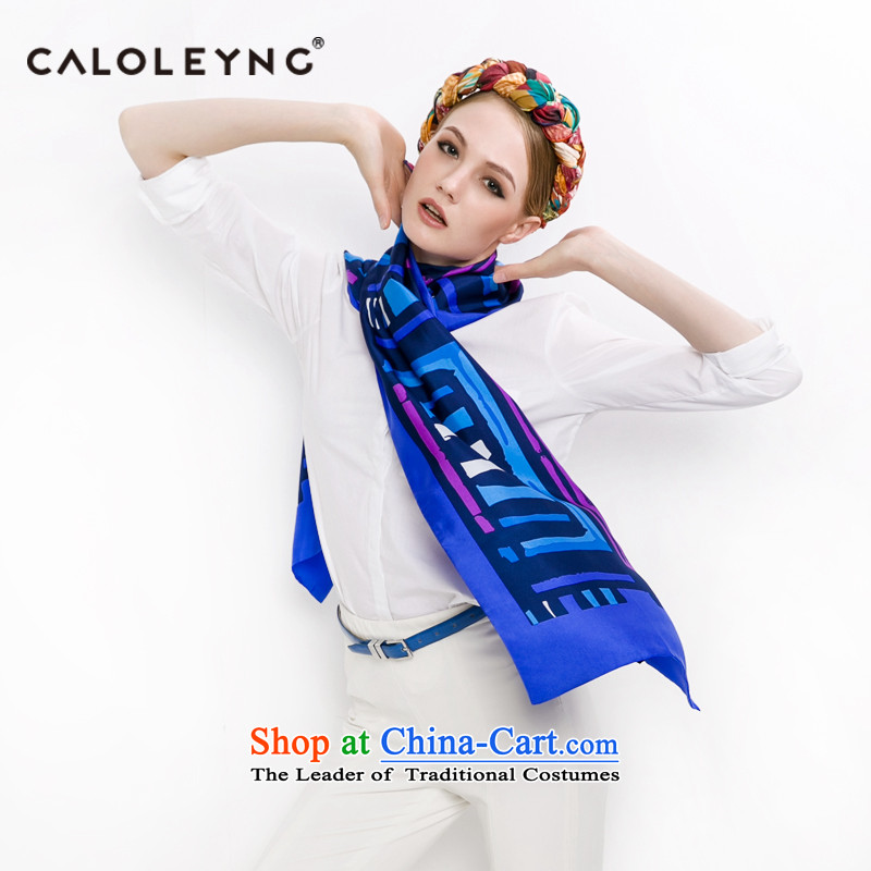 Charlotte to sheep silk scarves Ms. silk scarves dos Santos Long in autumn and winter older long towel thin blue light blue