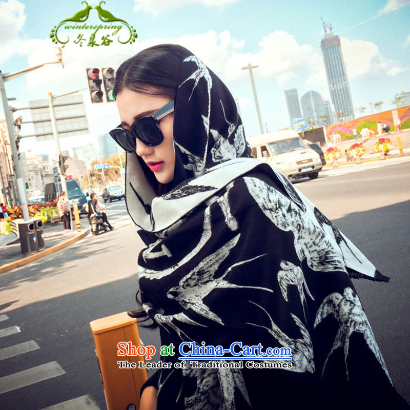 Fuyuizumi Valley2015 autumn and winter swallow emulation pashmina shawl female wild air-conditioning sunscreen silk scarf two black