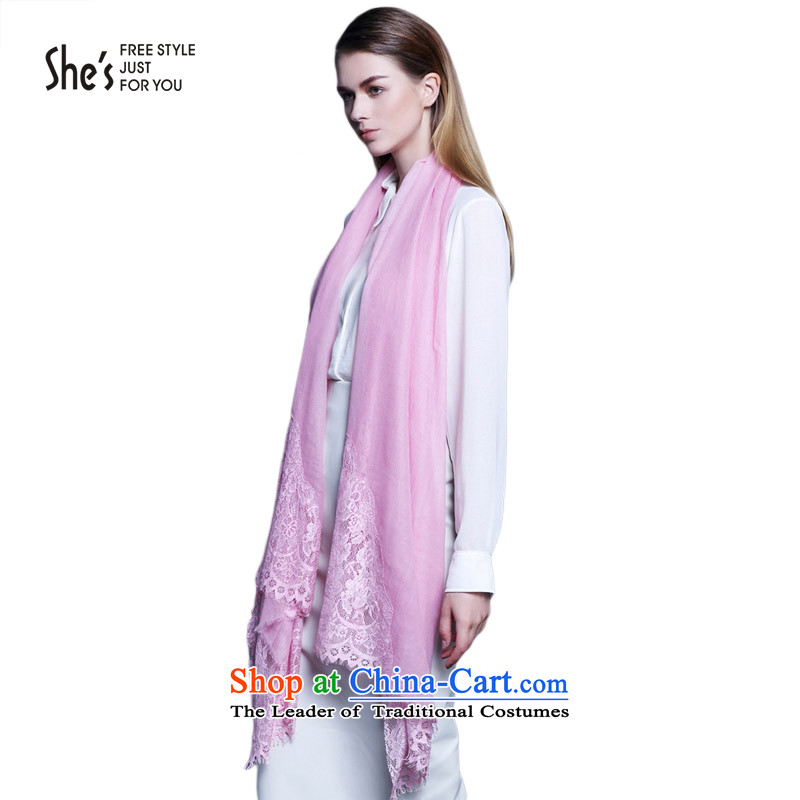 She's scarf accessories romantic lace edge stitching wool long warm scarf SSP9619392 A2