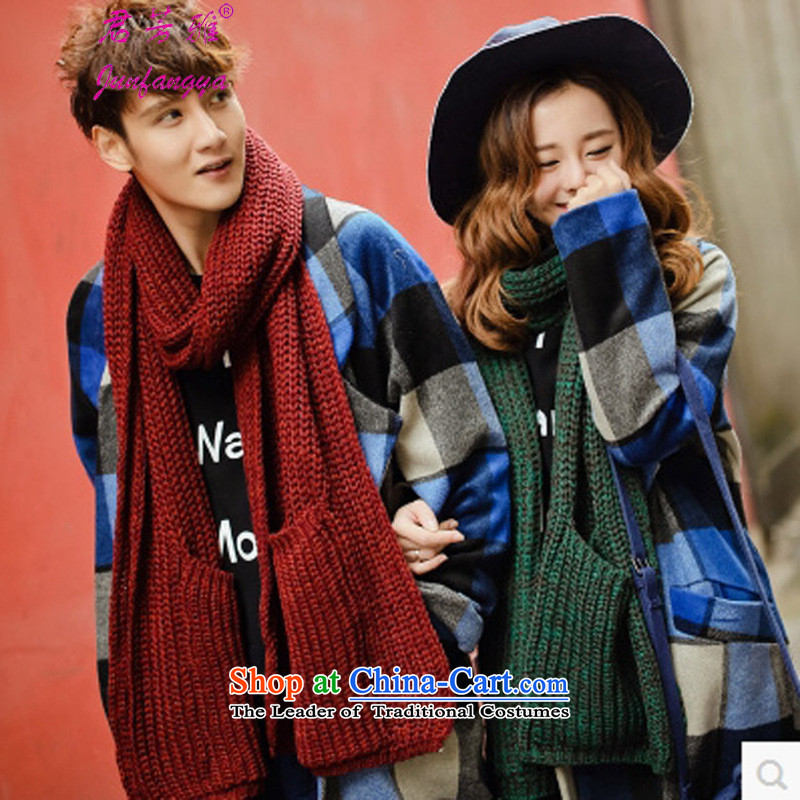 Kwan Fong Nga autumn and winter Korean New couples) pocket handkerchief warm personality of men and women also dark green