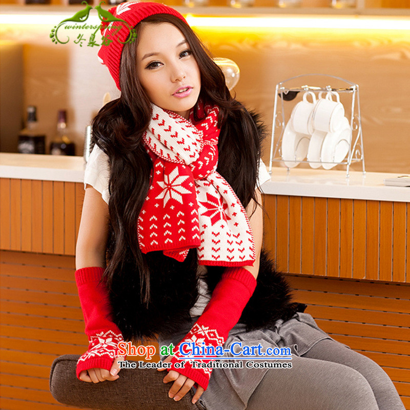 Fuyuizumi Valley Korean female couple of autumn and winter snowflakes Knitting scarves knitted hats pattern gloves three piece red