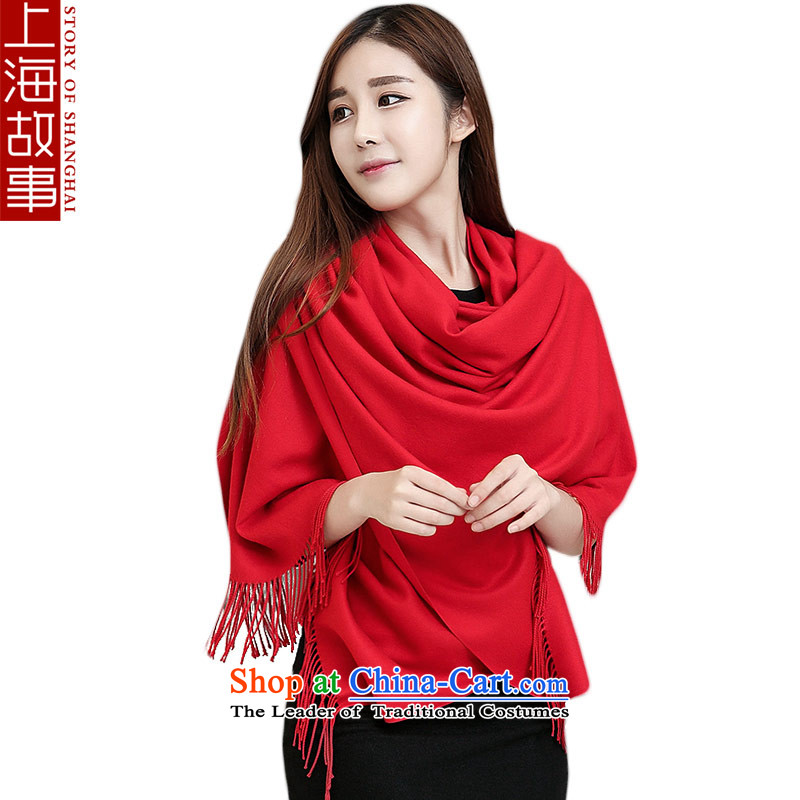 Shanghai Story silk scarf blended scarf warm winter shawl a girl as warm as animation red
