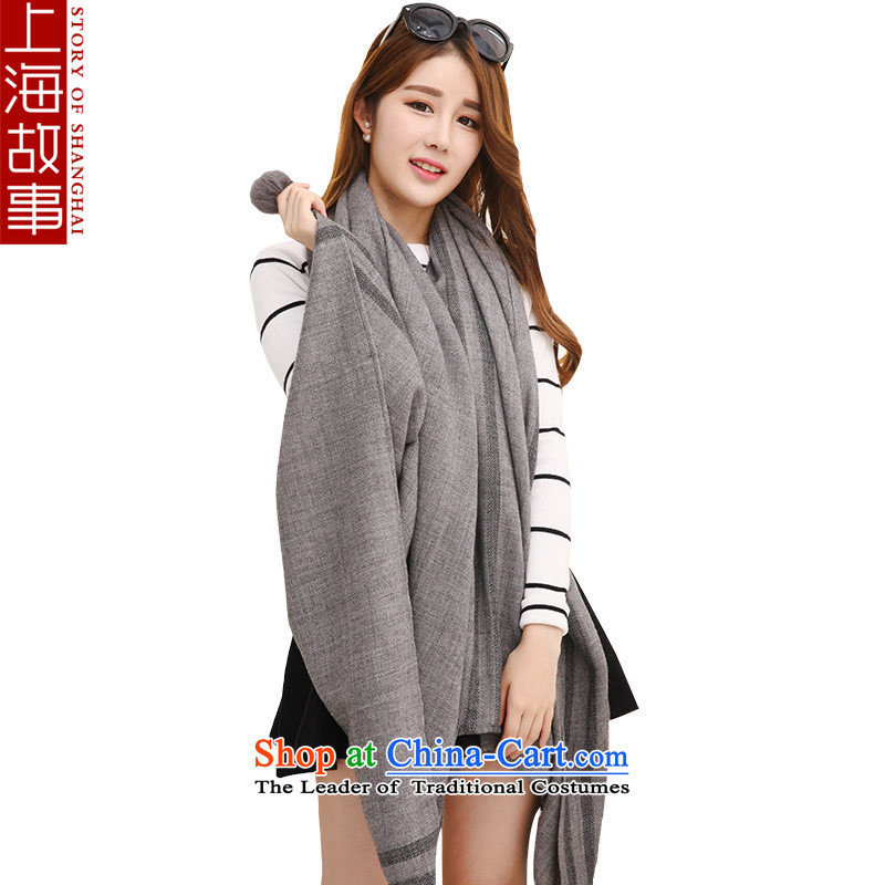 Shanghai Story wooler scarf winter, Solid Color warm shawl a female classic Gross Gross ball ball Gray