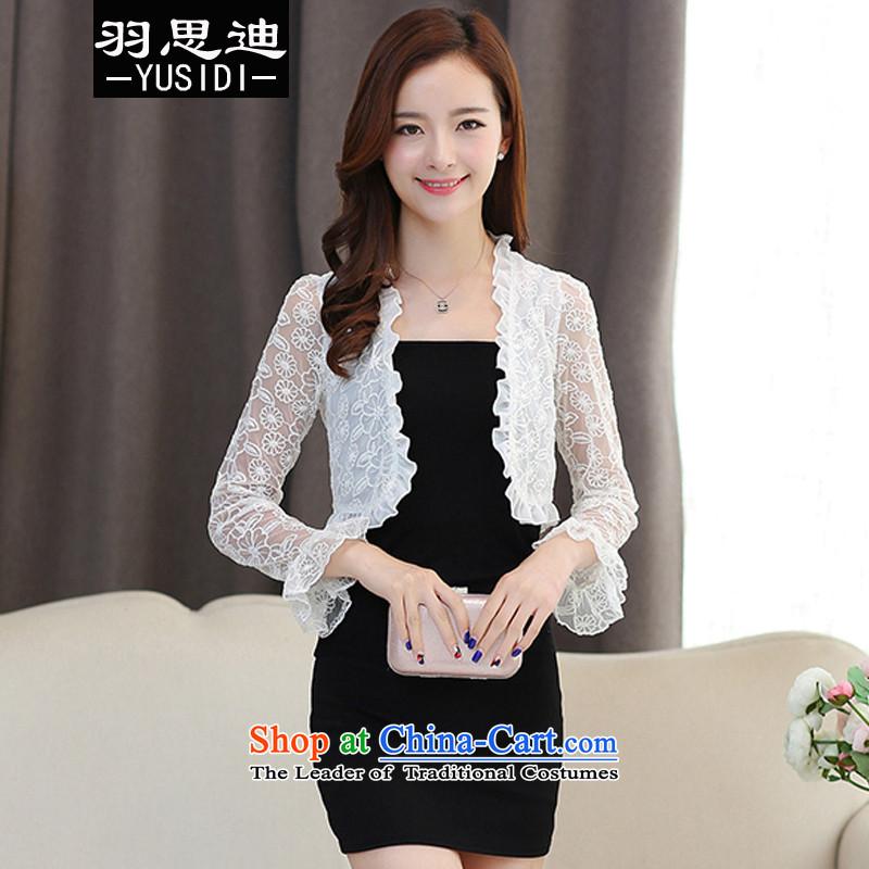Cisco's2015 Autumn Yu new for women lace engraving long-sleeved cardigan small shawl small Kampala shoulder wild female whiteM Light Jacket