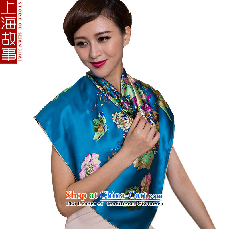 Shanghai Story silk scarves, Kim So-called the iron silk scarf and classy scarves sauna female stunning blue