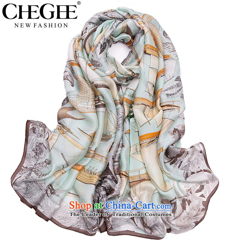 Slim, CHEGEE emulation silk scarf silk scarf female sea travel sunscreen shawl skyblue Beach Towel