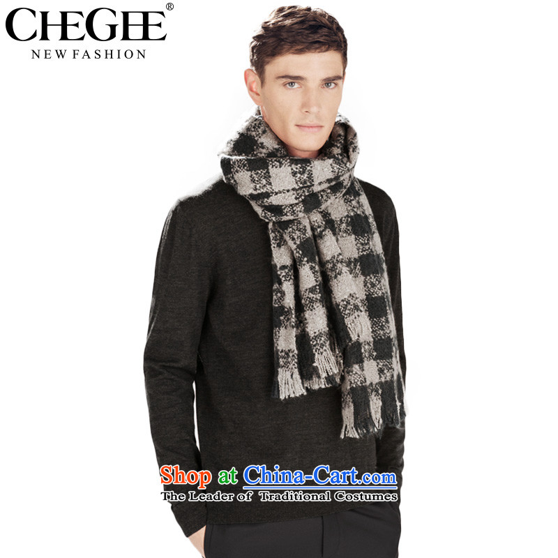 The Korean autumn and winter female CHEGEE black and white checkered knitted warm Fancy Scarf men and women, black and white.