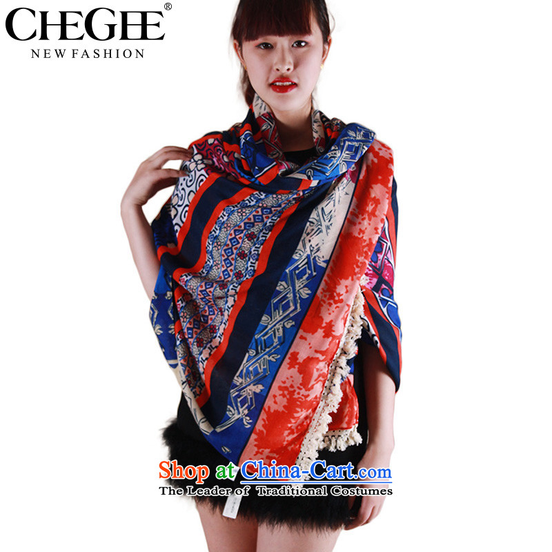 Ms. CHEGEE autumn and winter sheikhs wind scarf lace Edge Color Plane Collision Bohemia, classy and towel shawl red