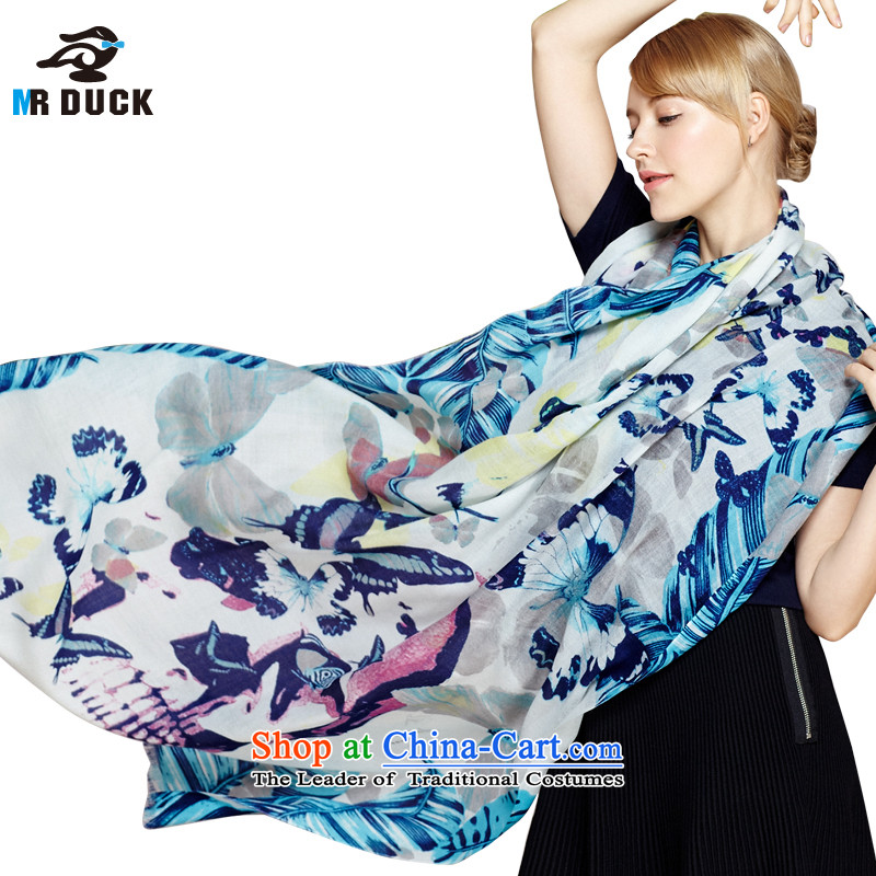 2015 Autumn winter wooler scarf Girl ) 100 upscale satin wool Fancy Scarf dual-use warm blue and the Butterfly Dance
