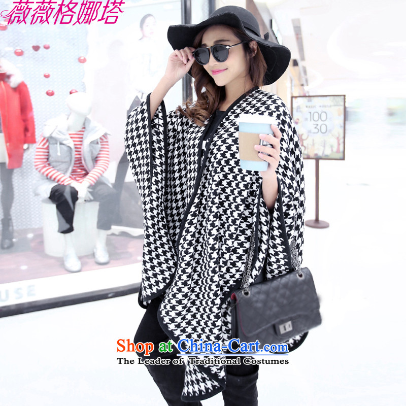 Weiwei Grid Natasha Korean autumn and winter Ms. cloak Fancy Scarf two of the forklift truck increases the chador chidori grid a thick knitted ponchos AA1507 main map color150_124cm