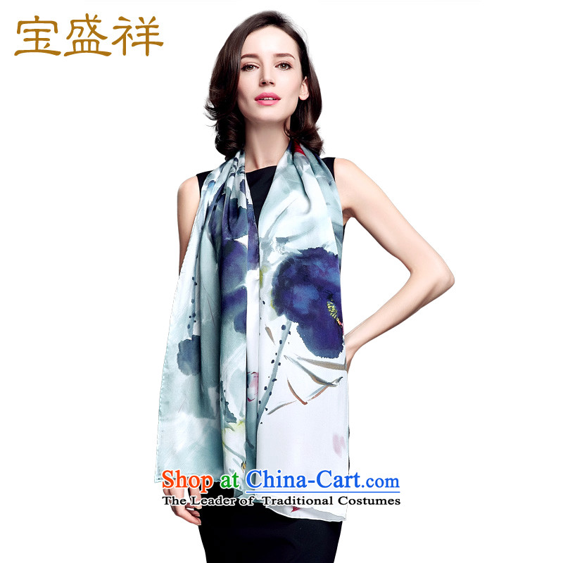 Blossom Cheung autumn new silk scarves female satin herbs extract long towel lotus digital printing shawl