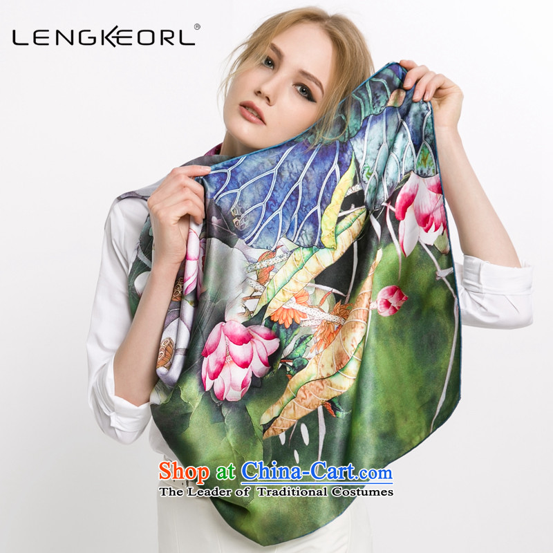 New Ling Ke herbs extract large silk scarves long dual-use Fancy Scarf silk long silk scarf China wind female grass angel flower-yiu