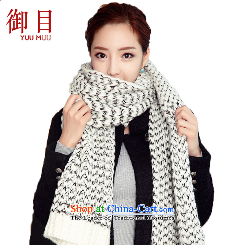 The mercy of the scarf female autumn and winter new Korean Mohair extended warm, scarves knitted warm thick Sleek and versatile Knitting scarves聽200cm_35cm White