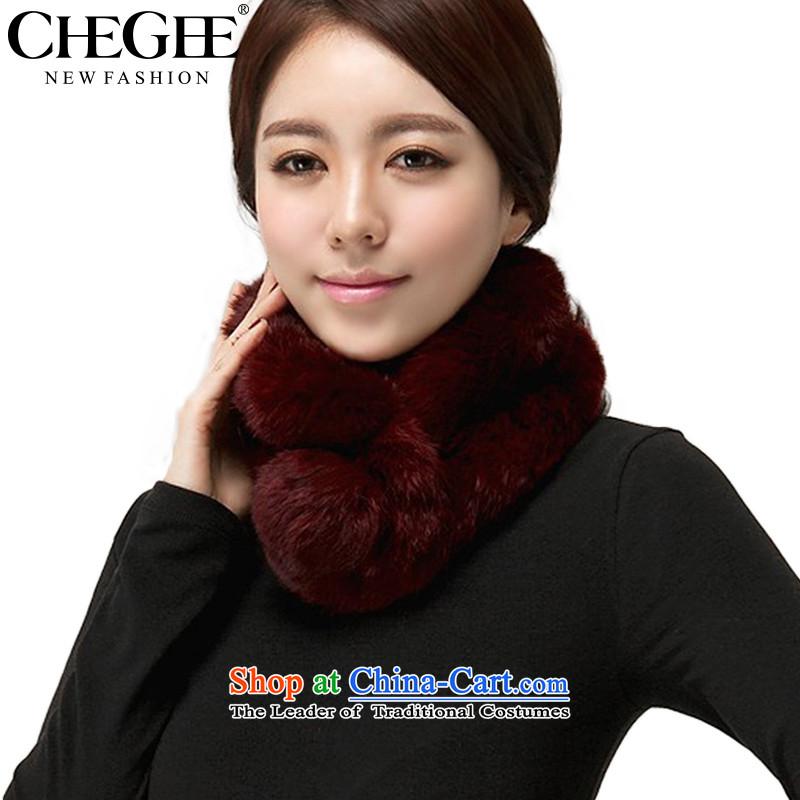 Chegee autumn and winter warm fur muffler for Ms. rabbit woolen cravat, hand a deep red
