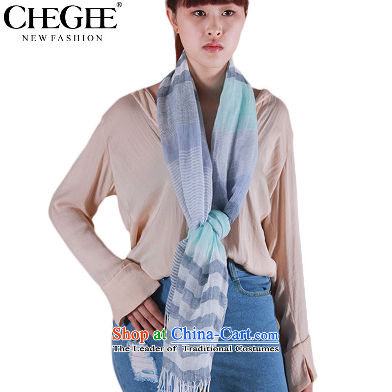 Ms. arts small stripes CHEGEE fresh cotton linen scarf sum College wind Korean linen shawl Sky Blue